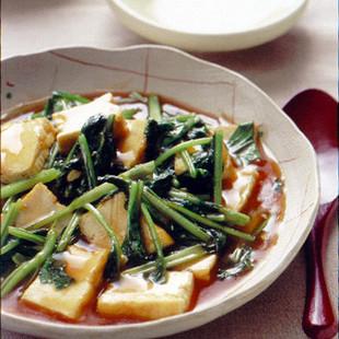厚揚げと小松菜の甘酢炒め