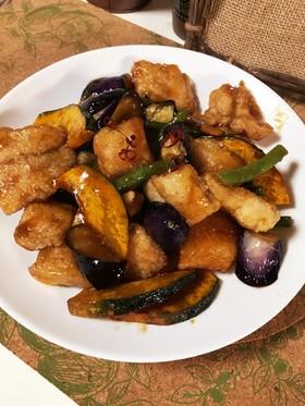 白身魚と秋野菜の甘酢あん