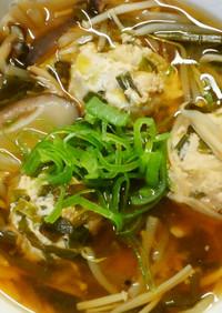 簡単❀ニラ入り鶏団子のきのこ和風スープ♡