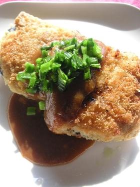 凍り豆腐のナスはさみ揚げ味噌カツ風