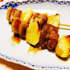 簡単!豚バラ肉とりんごの串焼き