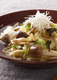 秋野菜たっぷりのスープパスタ