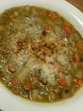 ルクルーゼでレンズ豆のカレースープ