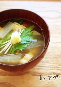 水菜と大根と薄揚げのお味噌汁♪