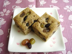 お豆とほうじ茶の和風ケーキ