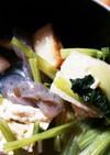 蒟蒻と小松菜とあげ蒲鉾の煮物