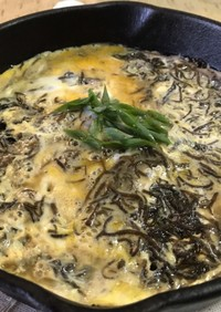 糸島産ふともずくの卵とじ
