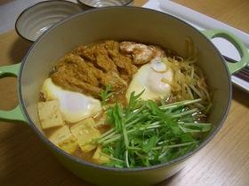 ヘルシー♪カレー鍋(豆腐&もやし&水菜)