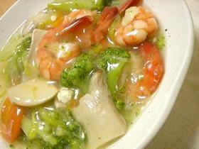 海老と野菜とエリンギの塩炒め
