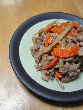 鶏肉とごぼうの味噌炒め