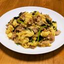 豚小間と小松菜のふわふわ卵甘辛炒め