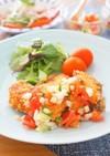 バジル風味の秋鮭フライラビゴットソース