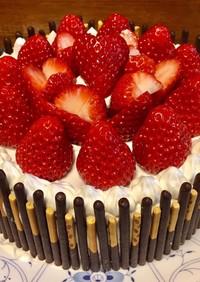 ポッキーストライプのケーキ