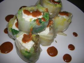 エコ葱タレで豆腐の生春巻き