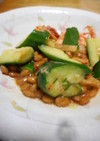 たたききゅうりと納豆のピリ辛和え