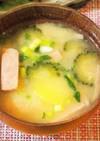 ゴーヤとスパムとジャガイモのお味噌汁