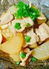 *脂落として焼いた豚バラ肉と大根の煮物*