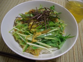 水菜とあげのシャキシャキ玉子丼