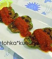 ピーマン肉詰めをトマトソースでの写真