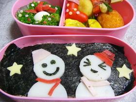 雪だるまのお弁当(キャラ弁)