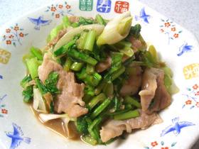 生姜がいいね!豚とかぶの葉の炒め物