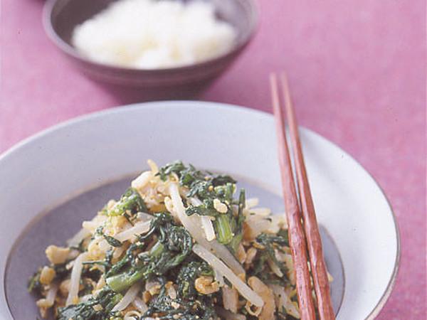 春菊と豚肉のおかずナムル