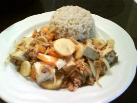 豆腐とツナと野菜のマヨネーズ醤油炒め