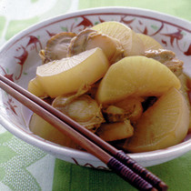 大根と帆立て貝の甘辛煮