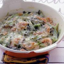 小松菜とハムのマヨネーズ焼き