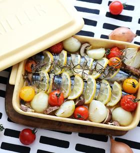 グリラーで 秋刀魚のレモンハーブ焼き
