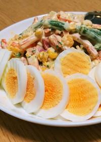 ゆで卵と人参・いんげんのマヨサラダ