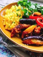 茄子入りチキンジャルフレジ(カレー炒め)の写真