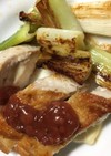 鶏胸肉梅肉ソースかけ