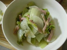 超簡単白菜消費!白菜と大根とハムの塩煮