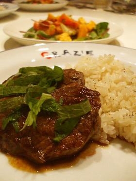 牛ランプ肉のステーキ大葉ぞえ☆初台風