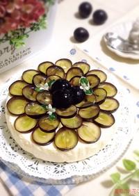 葡萄でお花デコ♡簡単レアチーズケーキ♪