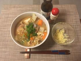 【発毛レシピ】豚汁風サバの缶詰汁