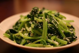 小松菜とじゃこのごま油炒め