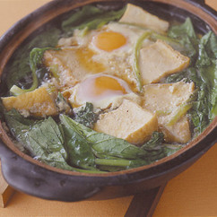 小松菜と厚揚げの落とし卵