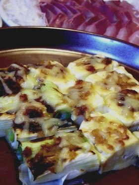 ねぎと豆腐の味噌チーズ焼き