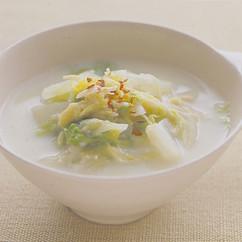 白菜と帆立ての豆乳スープ