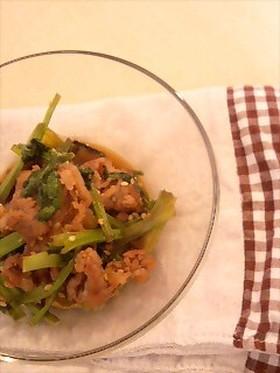 豚肉と小松菜のゴマ炒め
