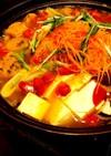 野菜いっぱい辛ラーメンの簡単鍋