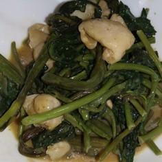 空芯菜と鶏皮のオイマヨ炒め
