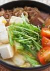トマトこぶおろしのすきやき肉豆腐鍋