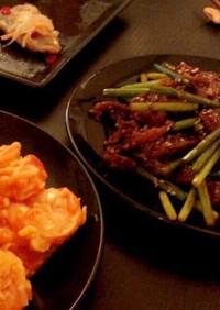牛肉とニンニクの茎の炒め物