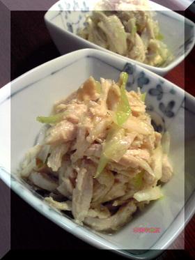 レンジ蒸し鶏のタイ風(?)ねぎ和え