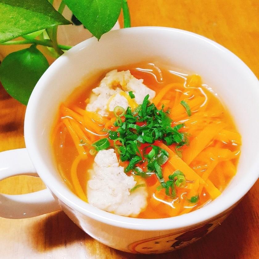 簡単★鶏団子とにんじんの春雨スープ♡