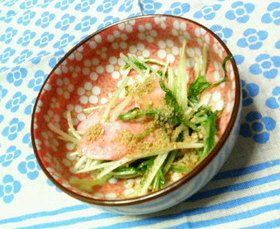 ✿水菜と❀魚肉ソーセージの✿ゴマソテー