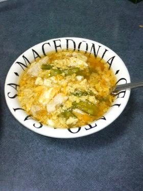 絹さやと鶏肉の卵とじスープ